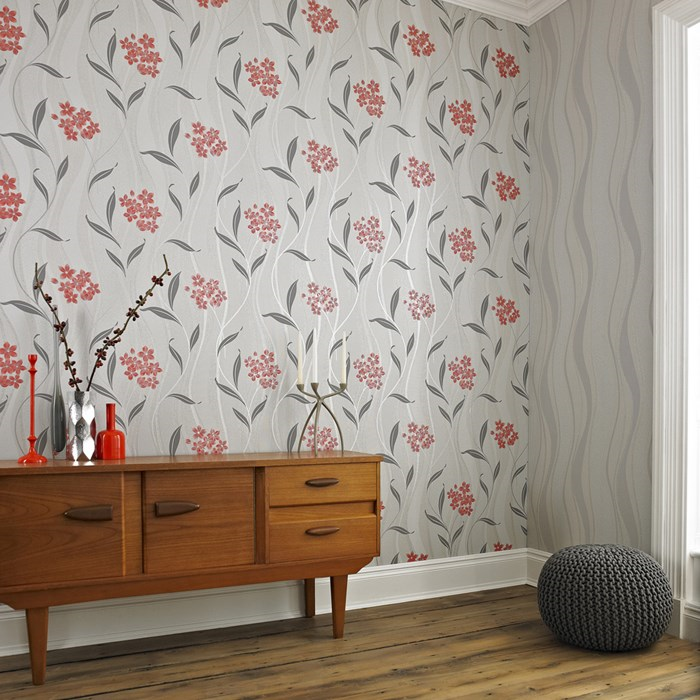 Superfresco Elise Coral Grey 20 824 Wallpaper