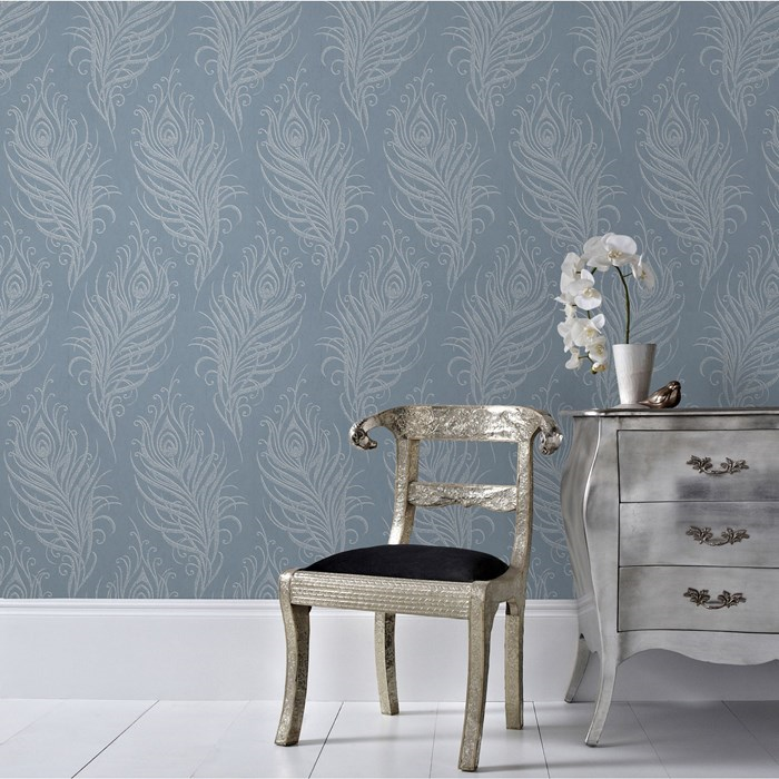 graham and brown quill blue 33 321 wallpaper